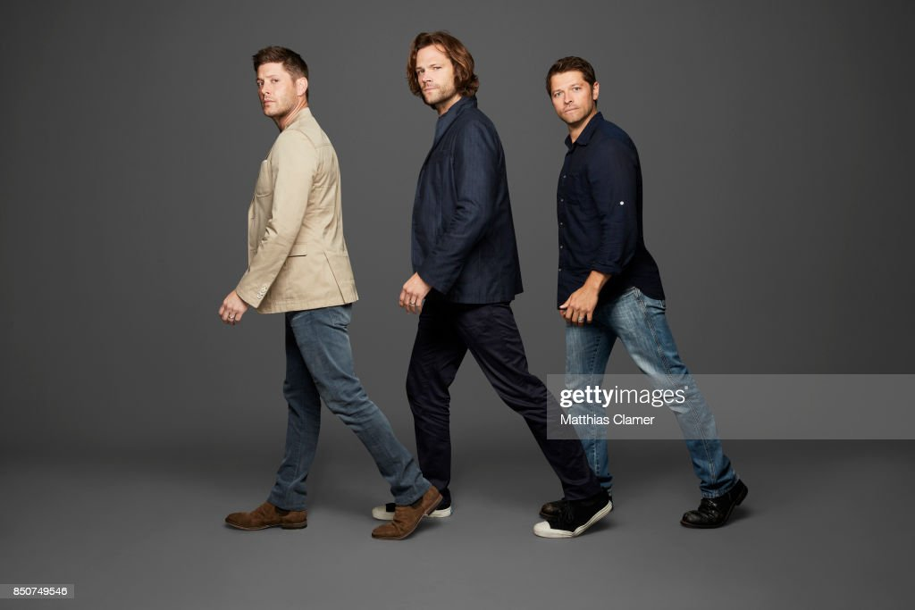 Actors Jensen Ackles, Jared Padalecki and Misha Collins from Supernatural are photographed for Entertainment Weekly Magazine on July 21, 2017 at Comic Con in San Diego, California. ON