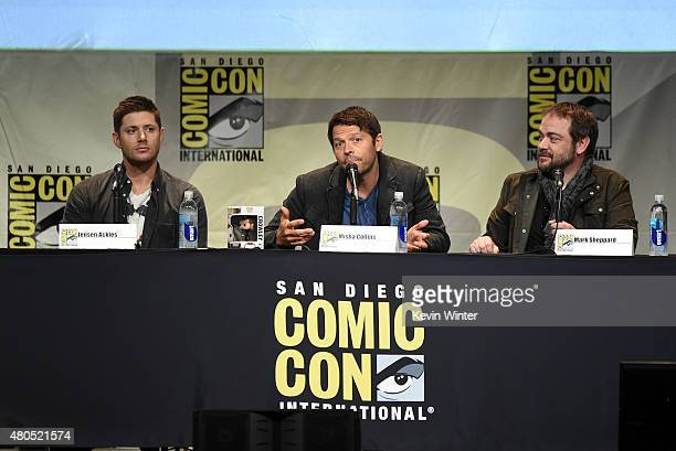 Actors Jensen Ackles Misha Collins and Mark Sheppard speak onstage at the 'Supernatural' panel during ComicCon International 2015 at the San Diego...