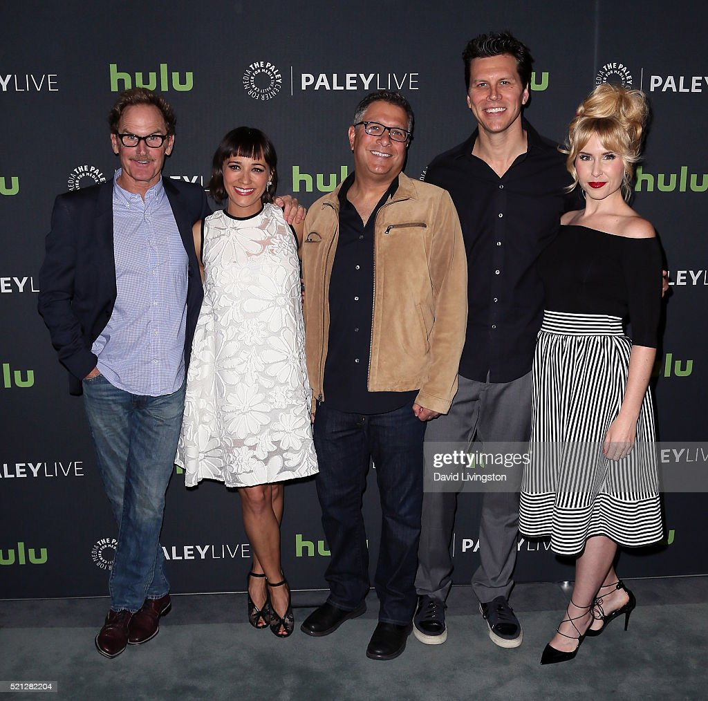 Actors Jere Burns and Rashida Jones writer Ira Ungerleider and actors Hayes MacArthur and Andree Vermeulen attend PaleyLive LA An Evening With 'Angie...