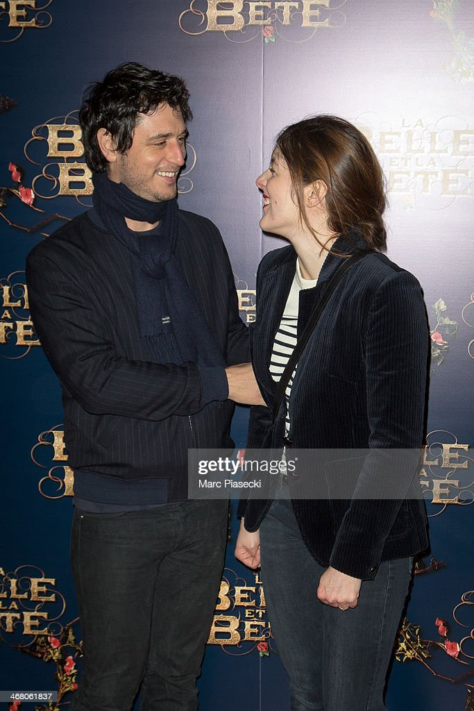 Actors Jeremie Elkaim and Valerie Donzelli attend the 'La Belle la bete' Paris Premiere at Gaumont Opera on February 9 2014 in Paris France
