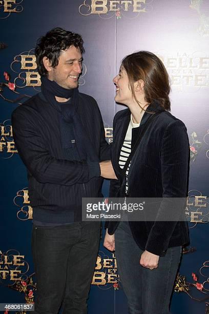 Actors Jeremie Elkaim and Valerie Donzelli attend the 'La Belle la bete' Paris Premiere at Gaumont Opera on February 9 2014 in Paris France