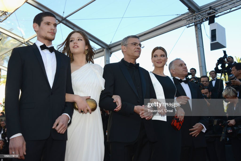 Actors Jeremie Laheurte, Adele Exarchopoulos, director Abdellatif Kechiche, actress Lea Seydoux and producer Brahim Chioua attend the 'Zulu' Premiere and Closing Ceremony during the 66th Annual Cannes Film Festival at the Palais des Festivals on May 26, 2013 in Cannes, France.