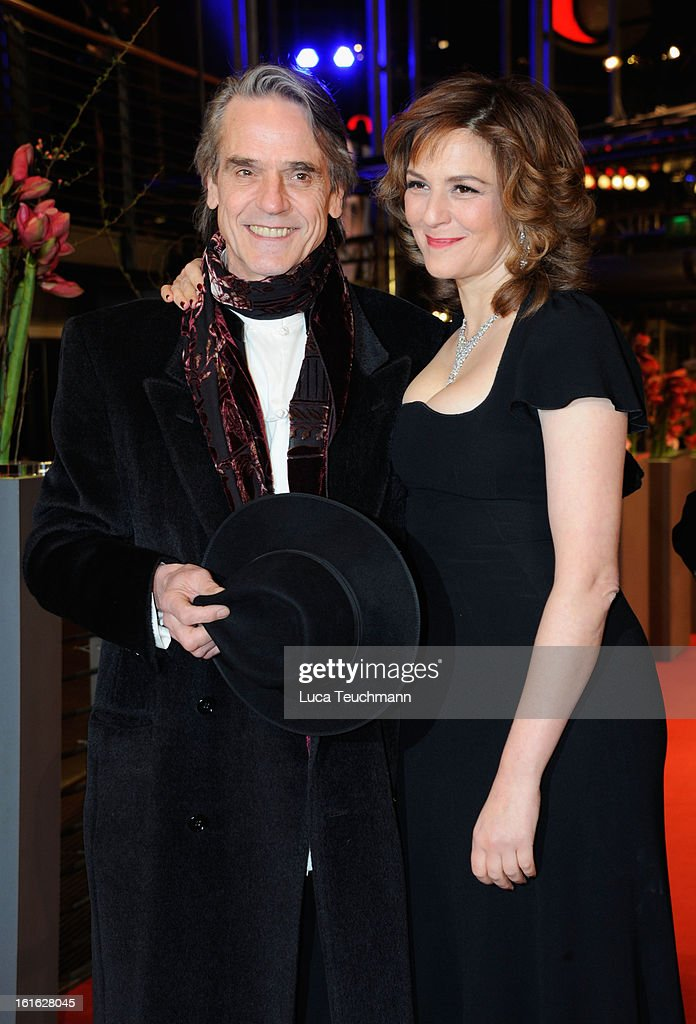 Actors <a gi-track='captionPersonalityLinkClicked' href=/galleries/search?phrase=Jeremy+Irons&family=editorial&specificpeople=203309 ng-click='$event.stopPropagation()'>Jeremy Irons</a> and <a gi-track='captionPersonalityLinkClicked' href=/galleries/search?phrase=Martina+Gedeck&family=editorial&specificpeople=621042 ng-click='$event.stopPropagation()'>Martina Gedeck</a> attend the 'Night Train to Lisbon' Premiere during the 63rd Berlinale International Film Festival at the Berlinale Palast on February 13, 2013 in Berlin, Germany.