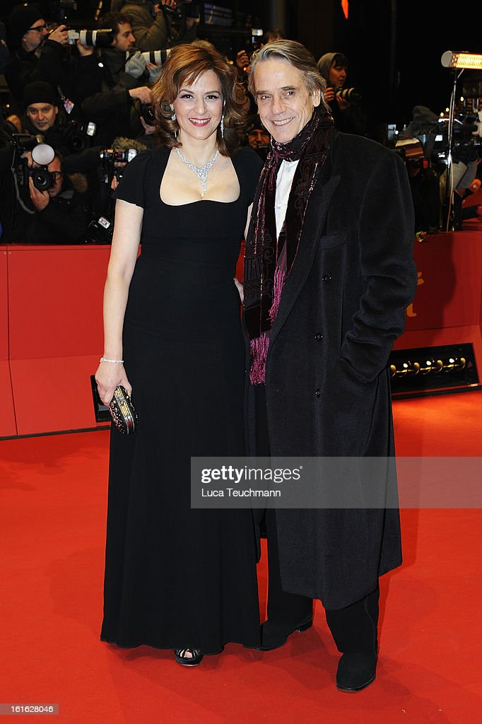 Actors Jeremy Irons and Martina Gedeck attend the 'Night Train to Lisbon' Premiere during the 63rd Berlinale International Film Festival at the...
