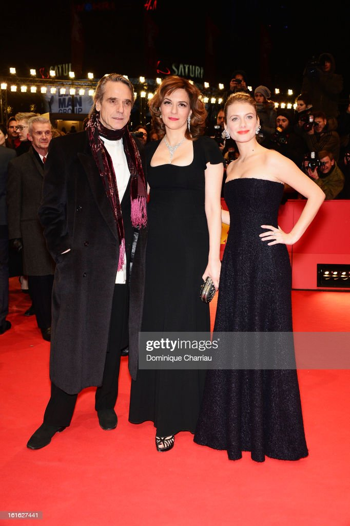 Actors <a gi-track='captionPersonalityLinkClicked' href=/galleries/search?phrase=Jeremy+Irons&family=editorial&specificpeople=203309 ng-click='$event.stopPropagation()'>Jeremy Irons</a>, <a gi-track='captionPersonalityLinkClicked' href=/galleries/search?phrase=Martina+Gedeck&family=editorial&specificpeople=621042 ng-click='$event.stopPropagation()'>Martina Gedeck</a> and <a gi-track='captionPersonalityLinkClicked' href=/galleries/search?phrase=Melanie+Laurent&family=editorial&specificpeople=2721978 ng-click='$event.stopPropagation()'>Melanie Laurent</a> attends the 'Night Train to Lisbon' Premiere during the 63rd Berlinale International Film Festival at the Berlinale Palast on February 13, 2013 in Berlin, Germany.