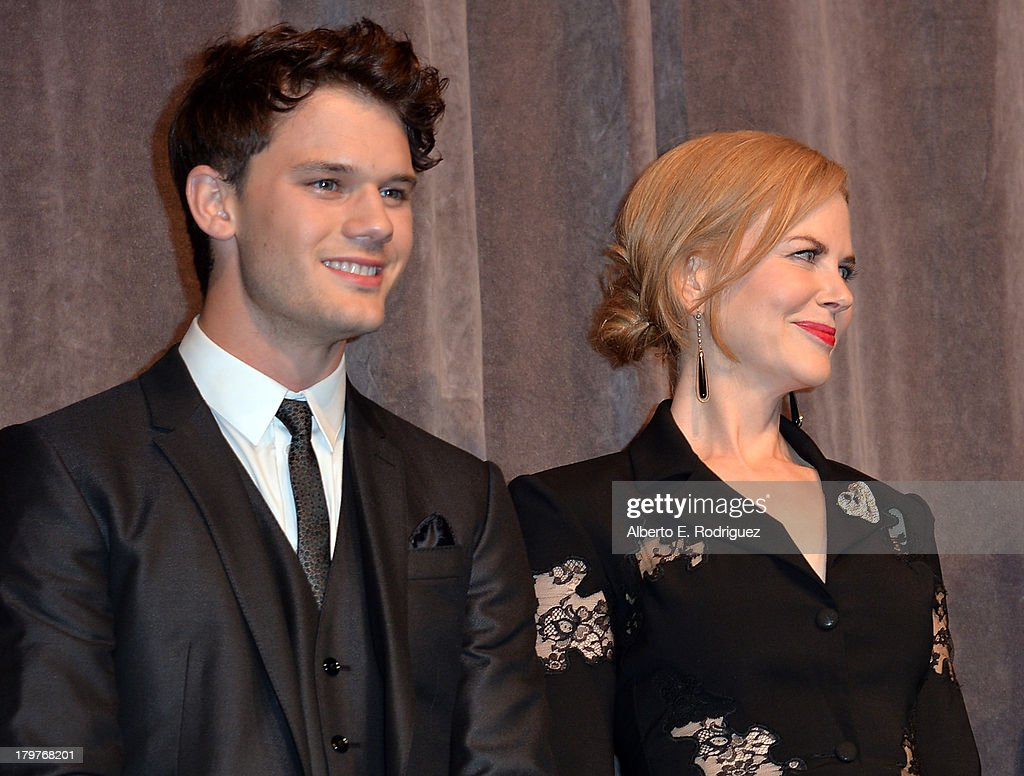 Actors <a gi-track='captionPersonalityLinkClicked' href=/galleries/search?phrase=Jeremy+Irvine&family=editorial&specificpeople=7595423 ng-click='$event.stopPropagation()'>Jeremy Irvine</a> (L) and Colin Firth speak at 'The Railway Man' Premiere during the 2013 Toronto International Film Festival at Roy Thomson Hall on September 6, 2013 in Toronto, Canada.