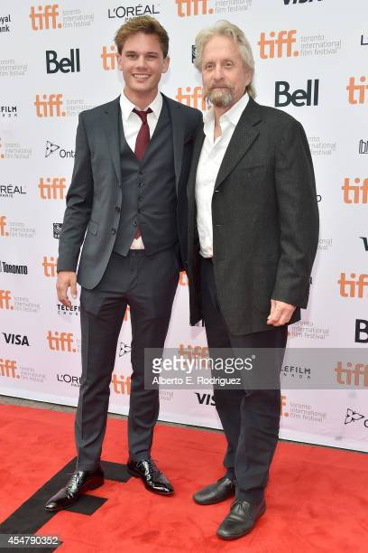 Actors Jeremy Irvine and Michael Douglas attend 'The Reach' premiere during the 2014 Toronto International Film Festival at Princess of Wales Theatre...