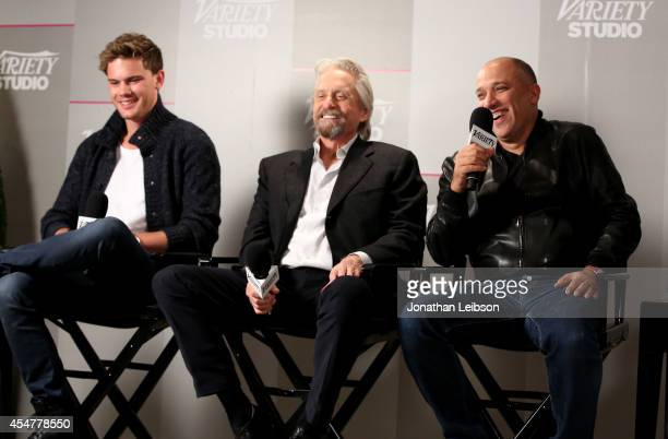Actors Jeremy Irvine Michael Douglas and Director JeanBaptiste Leonetti attend day 2 of the Variety Studio presented by Moroccanoil at Holt Renfrew...
