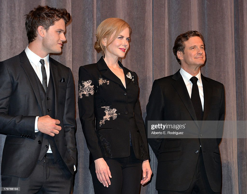 Actors <a gi-track='captionPersonalityLinkClicked' href=/galleries/search?phrase=Jeremy+Irvine&family=editorial&specificpeople=7595423 ng-click='$event.stopPropagation()'>Jeremy Irvine</a>, <a gi-track='captionPersonalityLinkClicked' href=/galleries/search?phrase=Nicole+Kidman&family=editorial&specificpeople=156404 ng-click='$event.stopPropagation()'>Nicole Kidman</a> and <a gi-track='captionPersonalityLinkClicked' href=/galleries/search?phrase=Colin+Firth&family=editorial&specificpeople=201620 ng-click='$event.stopPropagation()'>Colin Firth</a> speak at 'The Railway Man' Premiere during the 2013 Toronto International Film Festival at Roy Thomson Hall on September 6, 2013 in Toronto, Canada.
