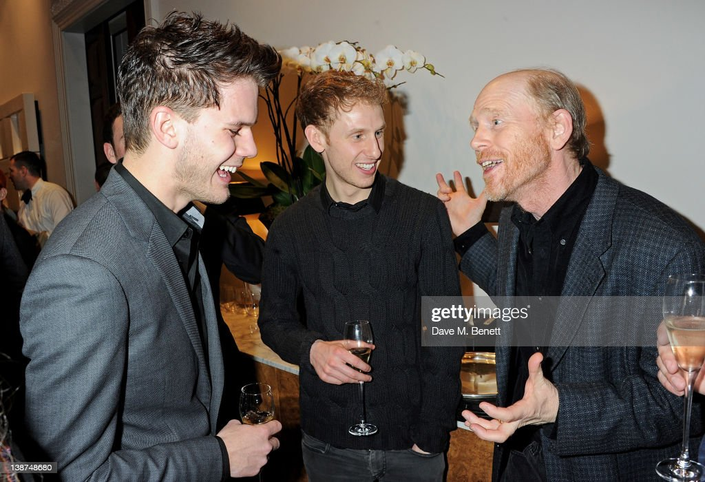 Actors Jeremy Irvine, Robert Emms and director Ron Howard attend the Dreamworks Pre-BAFTA Tea Party in celebration of 'The Help' and 'War Horse' at The Arts Club on February 11, 2012 in London, England.