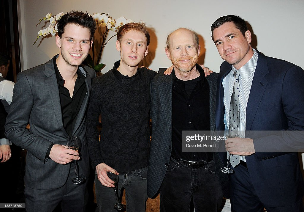 Actors Jeremy Irvine, Robert Emms and directors Ron Howard and Tate Taylor attend the Dreamworks Pre-BAFTA Tea Party in celebration of 'The Help' and 'War Horse' at The Arts Club on February 11, 2012 in London, England.