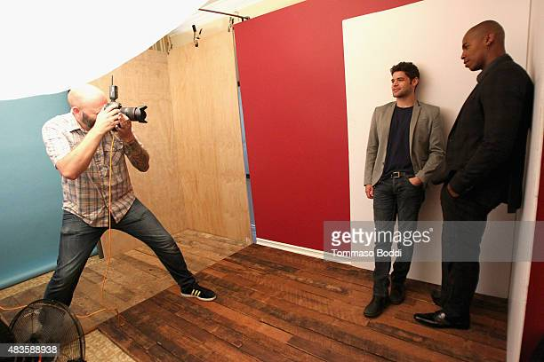 Actors Jeremy Jordan and Mehcad Brooks of CBS's 'Supergirl' attend Behind The Scenes Of The Getty Images Portrait Studio Powered By Samsung Galaxy At...