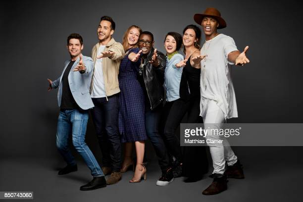 Actors Jeremy Jordan Chris Wood Melissa Benoist David Harewood Katie McGrath Odette Annable and Mehcad Brooks from Supergirl are photographed for...