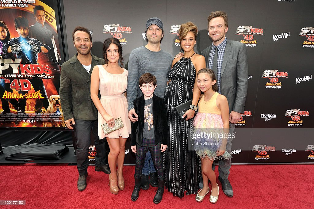 Actors Jeremy Piven Alexa Vega Mason Cook director Robert Rodriguez Jessica Alba Rowan Blanchard and Joel McHale arrive at 'Spy Kids All The Time In...