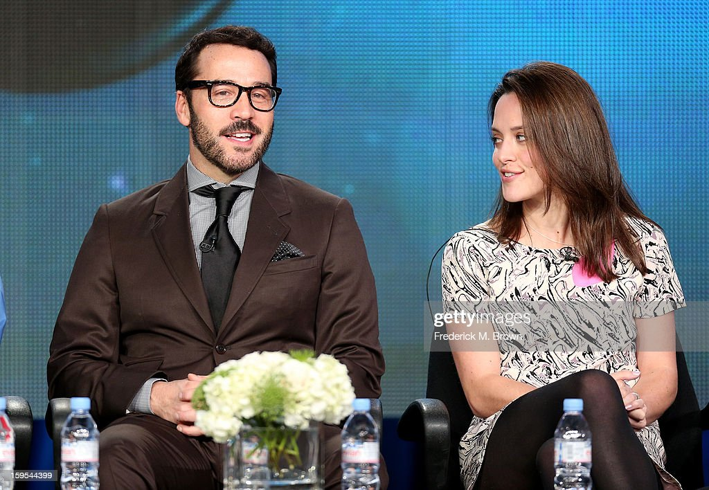Actors Jeremy Piven (L) and Zoe Tapper of the television show 'Mr. Selfridge' speaks onstage during the PBS Portion- Day 2 of the 2013 Winter Television Critics Association Press Tour at Langham Hotel on January 15, 2013 in Pasadena, California.