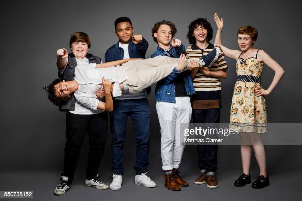 Actors Jeremy Ray Taylor Chosen Jacobs Finn Wolfhard Wyatt Oleff Sophia Lillis and Jack Dylan Grazer from IT are photographed for Entertainment...