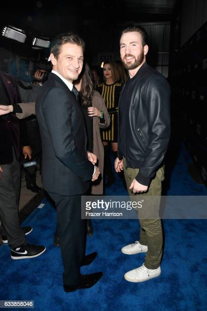Actors Jeremy Renner and Chris Evans attend the 2017 DIRECTV NOW Super Saturday Night Concert at Club Nomadic on February 4 2017 in Houston Texas