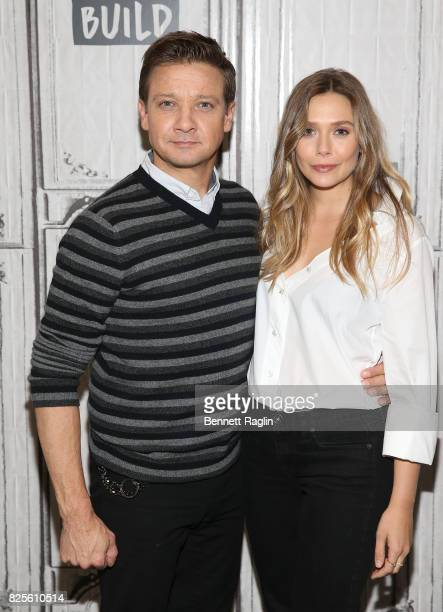 Actors Jeremy Renner and Elizabeth Olsen visit Build to discuss their movie 'Wind River' at Build Studio on August 2 2017 in New York City