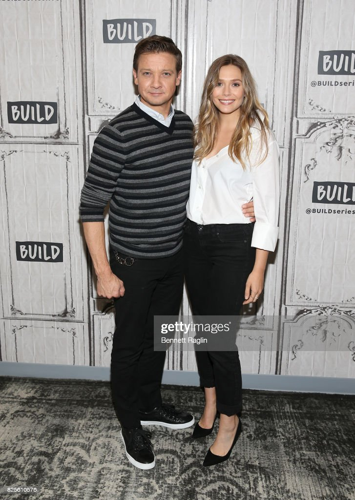 Actors Jeremy Renner and Elizabeth Olsen visit Build to discuss their movie 'Wind River' at Build Studio on August 2, 2017 in New York City.