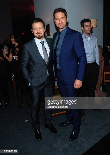 Actors Jeremy Renner and Gerard Butler attend the Ermenegildo Zegna Eminences Grises unveiling hosted by Gildo Zegna and Stefano Pilati at JF Chen on...