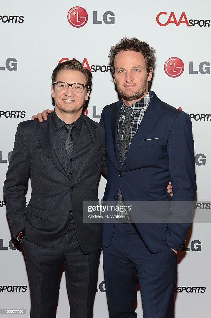 Actors <a gi-track='captionPersonalityLinkClicked' href=/galleries/search?phrase=Jeremy+Renner&family=editorial&specificpeople=708701 ng-click='$event.stopPropagation()'>Jeremy Renner</a> and <a gi-track='captionPersonalityLinkClicked' href=/galleries/search?phrase=Jason+Clarke+-+Actor&family=editorial&specificpeople=549663 ng-click='$event.stopPropagation()'>Jason Clarke</a> attend CAA Sports Super Bowl Party presented By LG at Contemporary Arts Center on February 2, 2013 in New Orleans, Louisiana.