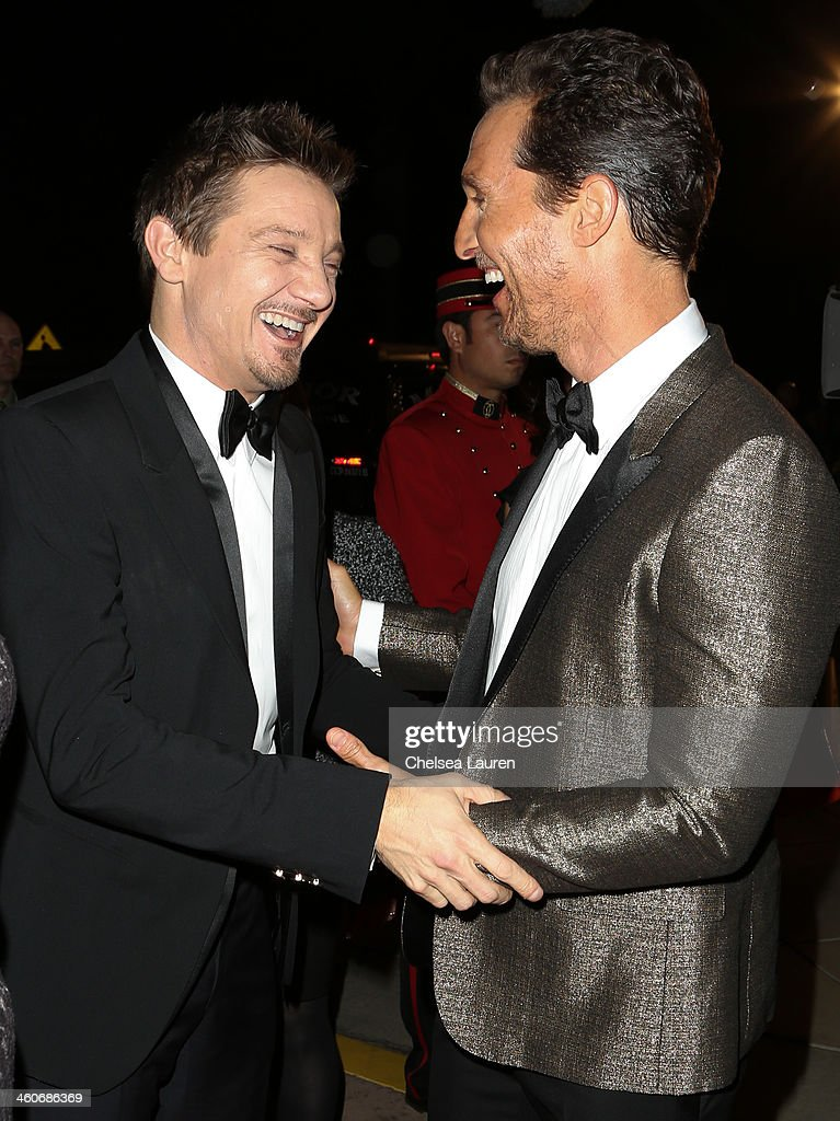 Actors <a gi-track='captionPersonalityLinkClicked' href=/galleries/search?phrase=Jeremy+Renner&family=editorial&specificpeople=708701 ng-click='$event.stopPropagation()'>Jeremy Renner</a> (L) and <a gi-track='captionPersonalityLinkClicked' href=/galleries/search?phrase=Matthew+McConaughey&family=editorial&specificpeople=201663 ng-click='$event.stopPropagation()'>Matthew McConaughey</a> arrive in style during the Mercedes-Benz arrivals at the 25th Annual Palm Springs International Film Festival Awards Gala onJanuary 4, 2014 in Palm Springs, California.
