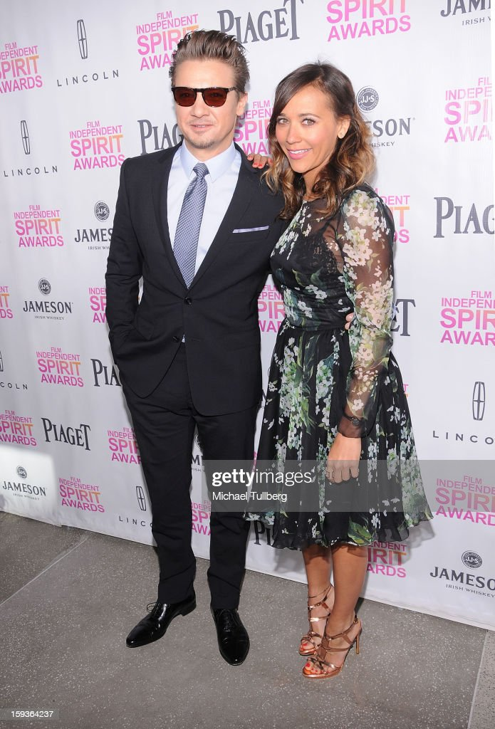 Actors Jeremy Renner and Rashida Jones arrive at a brunch honoring the nominees for the 2013 Film Independent Filmmaker Grant and Spirit Awards at BOA Steakhouse on January 12, 2013 in West Hollywood, California.