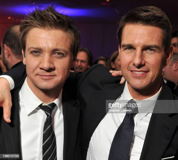 Actors Jeremy Renner and Tom Cruise attend the 'Mission Impossible Ghost Protocol' US premiere after party at the Museum of Modern Art on December 19...