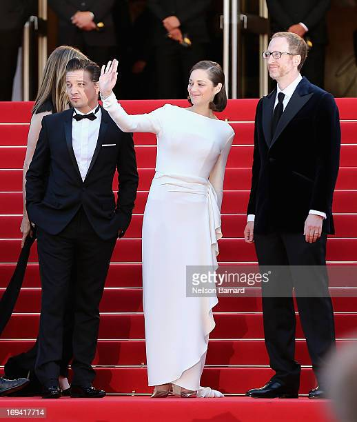 Actors Jeremy Renner Marion Cotillard and director James Gray attend 'The Immigrant' Premiere during the 66th Annual Cannes Film Festival at Grand...
