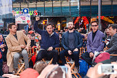Actors Jeremy Renner Mark Ruffalo Chris Evans and Robert Downey Jr tape an interview at 'Good Morning America' at the ABC Times Square Studios on...