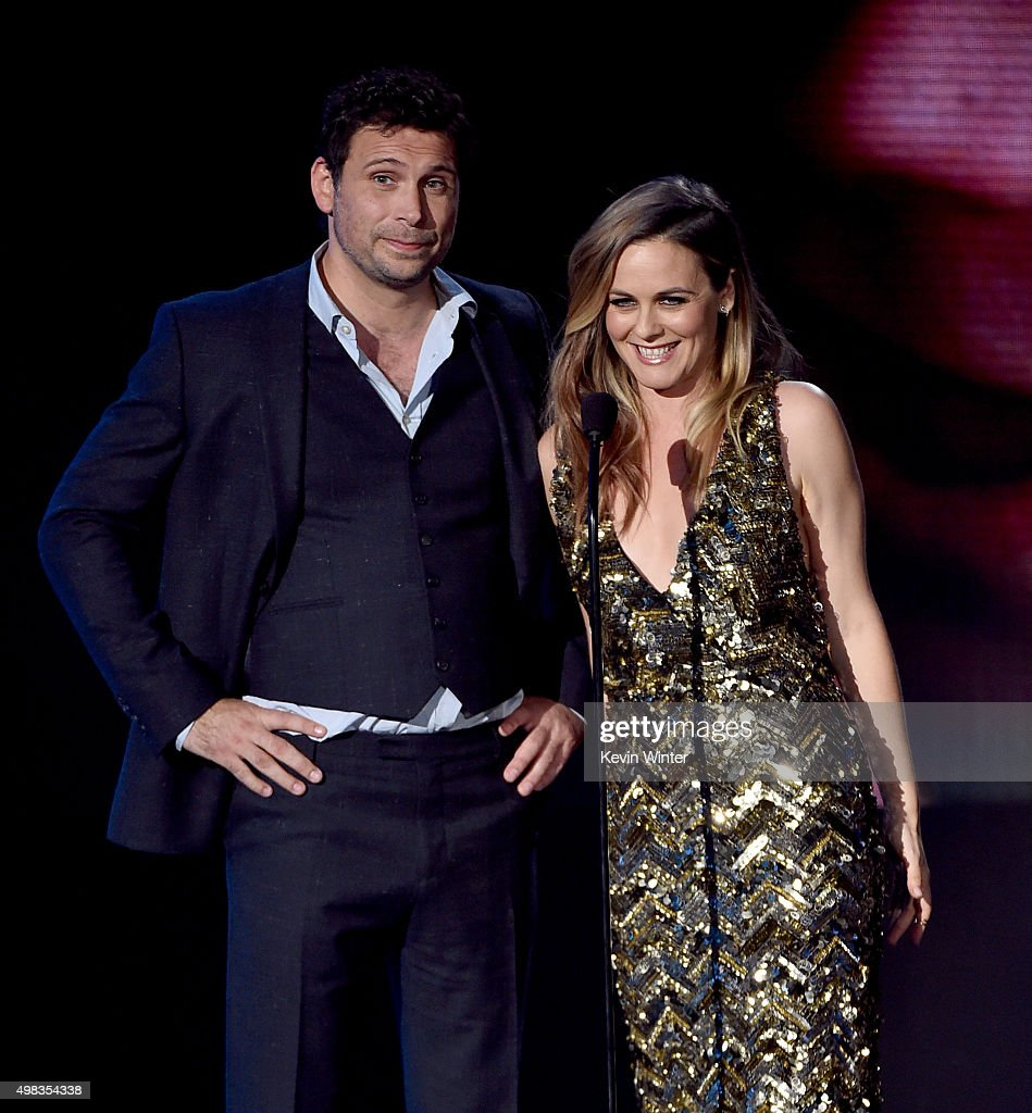 Actors Jeremy Sisto and Alicia Silverstone speak onstage during the 2015 American Music Awards at Microsoft Theater on November 22 2015 in Los...