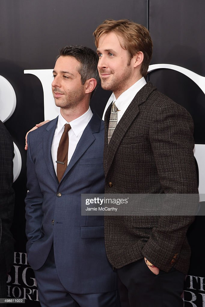 Actors Jeremy Strong and Ryan Gosling attend the premiere of 'The Big Short' at Ziegfeld Theatre on November 23, 2015 in New York City.