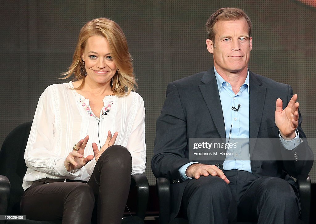 Actors <a gi-track='captionPersonalityLinkClicked' href=/galleries/search?phrase=Jeri+Ryan&family=editorial&specificpeople=239502 ng-click='$event.stopPropagation()'>Jeri Ryan</a> and <a gi-track='captionPersonalityLinkClicked' href=/galleries/search?phrase=Mark+Valley&family=editorial&specificpeople=745849 ng-click='$event.stopPropagation()'>Mark Valley</a> of 'Body of Proof' settle into their seats onstage during the ABC portion of the 2013 Winter TCA Tour at Langham Hotel on January 10, 2013 in Pasadena, California.