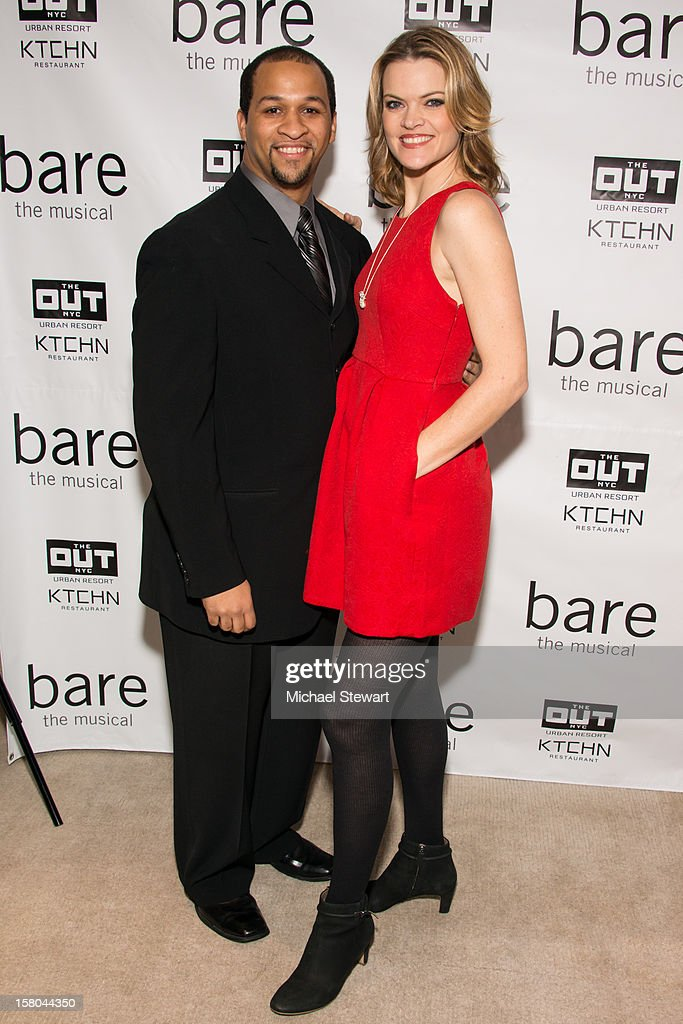 Actors Jerold E. Solomon (L) and <a gi-track='captionPersonalityLinkClicked' href=/galleries/search?phrase=Missi+Pyle&family=editorial&specificpeople=226554 ng-click='$event.stopPropagation()'>Missi Pyle</a> attend 'BARE The Musical' Opening Night After Party at Out Hotel on December 9, 2012 in New York City.