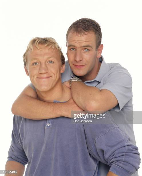 Actors Jerome Flynn and Robson Green pose at a studio session on August 01 1998 in London