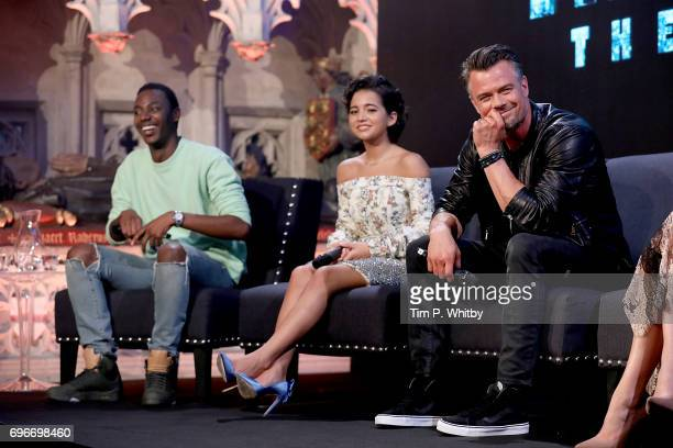 Actors Jerrod Carmichael Josh Duhamel and Isabela Moner attend a fan event for 'Transformers The Last Knight' at St Barts the Great on June 16 2017...