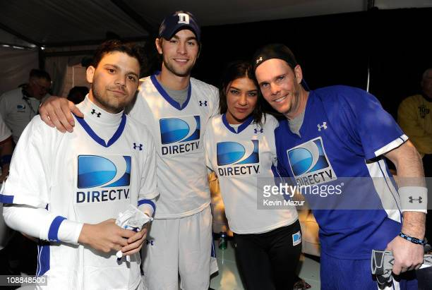 Actors Jerry Ferrara Chace Crawford Jessica Szohr and Kevin Dillon during DIRECTV's Fifth Annual Celebrity Beach Bowl at Victory Park on February 5...