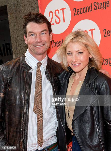 Actors Jerry O'Connell and Ari Graynor attend 'The Substance Of Fire' opening night at Second Stage Theatre on April 27 2014 in New York City