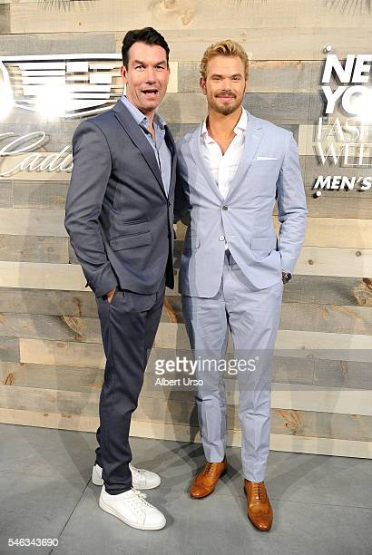 Actors Jerry O'Connell and Kellan Lutz pose at the CFDA x Cadillac opening night party during New York Fashion Week Men's Spring/Summer 2017 at...