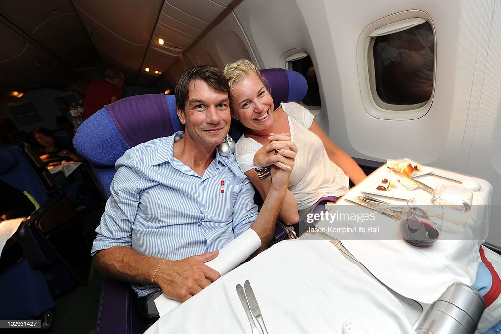 Actors Jerry O'Connell and wife Rebecca Romijn travels on the Life Ball Plane to the Life Ball on July 15 2010 in Vienna Austria