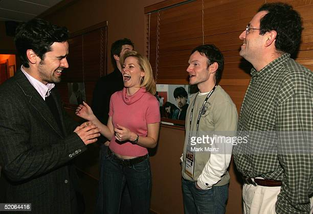 Actors Jesse Bradford Elizabeth Banks director Chris Terrio and Sony Pictures Classics CoPresident Michael Barker attend the dinner for 'Heights' at...