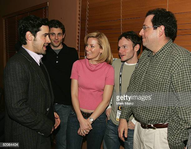 Actors Jesse Bradford James Marsden Elizabeth Banks director Chris Terrio and Sony Pictures Classics CoPresident Michael Barker attend the dinner for...
