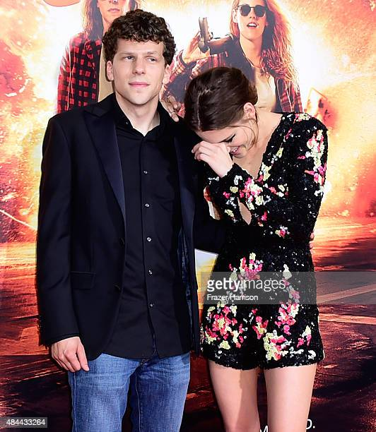 Actors Jesse Eisenberg and Kristen Stewart attend PalmStar Media And Lionsgate's 'American Ultra' premiere at the Ace Theater Downtown LA on August...