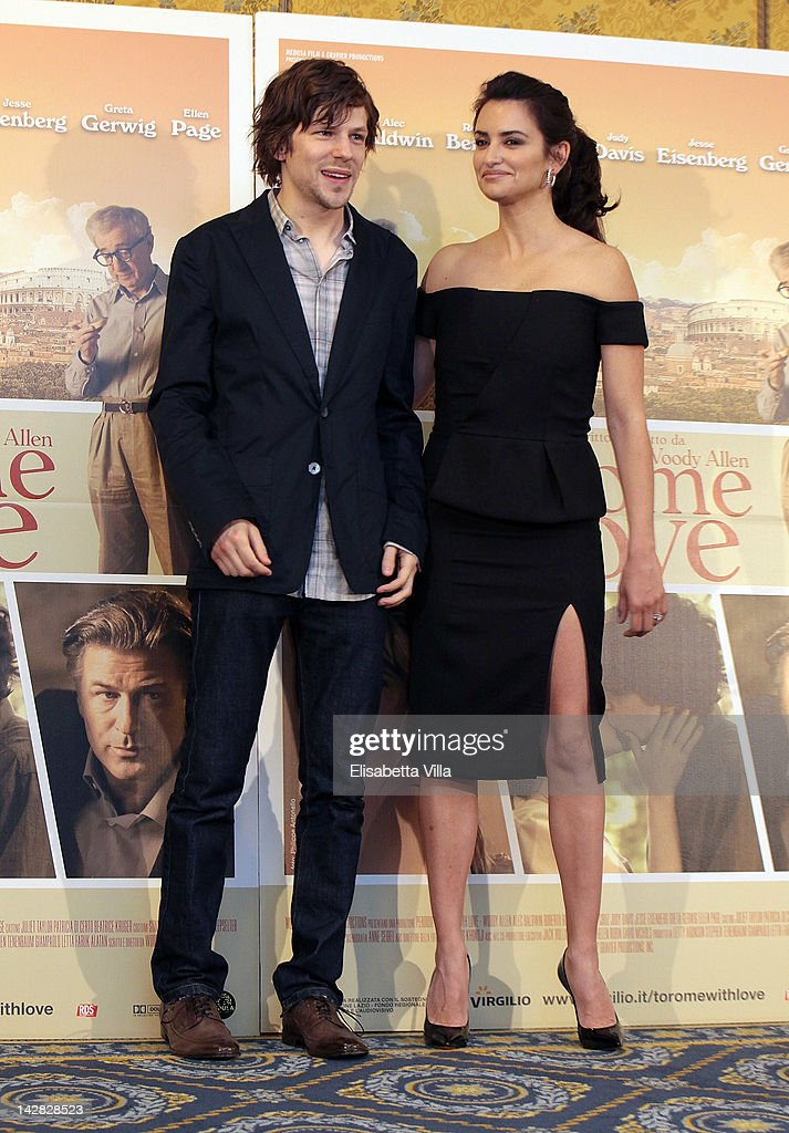 Actors <a gi-track='captionPersonalityLinkClicked' href=/galleries/search?phrase=Jesse+Eisenberg&family=editorial&specificpeople=625439 ng-click='$event.stopPropagation()'>Jesse Eisenberg</a> and Penelope Cruz attend 'To Rome With Love' photocall at Hotel Parco dei Principi on April 13, 2012 in Rome, Italy.