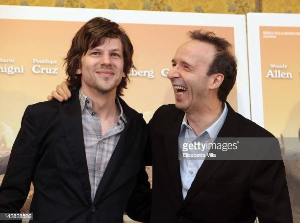 Actors Jesse Eisenberg and Roberto Benigni attend 'To Rome With Love' photocall at Hotel Parco dei Principi on April 13 2012 in Rome Italy