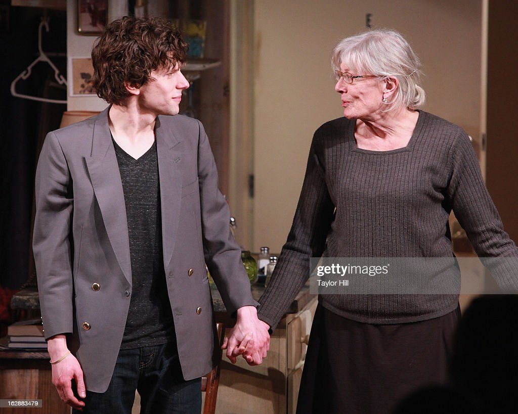 Actors <a gi-track='captionPersonalityLinkClicked' href=/galleries/search?phrase=Jesse+Eisenberg&family=editorial&specificpeople=625439 ng-click='$event.stopPropagation()'>Jesse Eisenberg</a> and <a gi-track='captionPersonalityLinkClicked' href=/galleries/search?phrase=Vanessa+Redgrave&family=editorial&specificpeople=169891 ng-click='$event.stopPropagation()'>Vanessa Redgrave</a> take a bow during the curtain call for 'The Revisionist' Opening Night at Cherry Lane Theatre on February 28, 2013 in New York City.