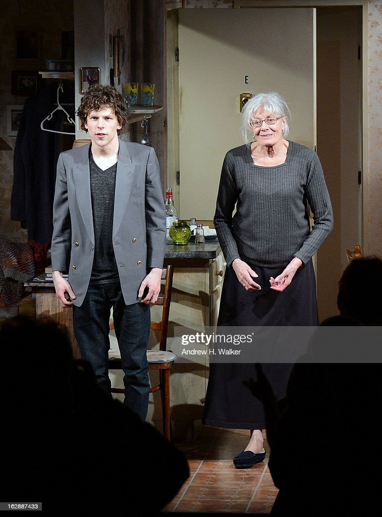 Actors Jesse Eisenberg and Vanessa Redgrave take their bow at 'The Revisionist' opening night at Cherry Lane Theatre on February 28, 2013 in New York City.