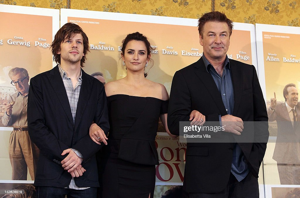 Actors <a gi-track='captionPersonalityLinkClicked' href=/galleries/search?phrase=Jesse+Eisenberg&family=editorial&specificpeople=625439 ng-click='$event.stopPropagation()'>Jesse Eisenberg</a>, Penelope Cruz and <a gi-track='captionPersonalityLinkClicked' href=/galleries/search?phrase=Alec+Baldwin&family=editorial&specificpeople=202864 ng-click='$event.stopPropagation()'>Alec Baldwin</a> attend 'To Rome With Love' photocall at Hotel Parco dei Principi on April 13, 2012 in Rome, Italy.