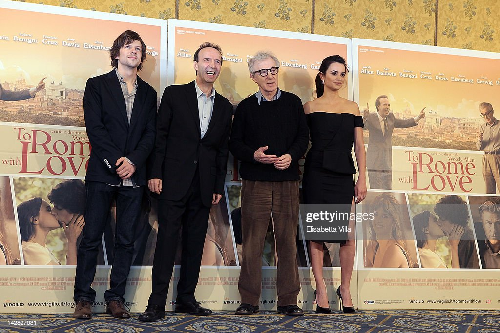 Actors <a gi-track='captionPersonalityLinkClicked' href=/galleries/search?phrase=Jesse+Eisenberg&family=editorial&specificpeople=625439 ng-click='$event.stopPropagation()'>Jesse Eisenberg</a>, <a gi-track='captionPersonalityLinkClicked' href=/galleries/search?phrase=Roberto+Benigni&family=editorial&specificpeople=217583 ng-click='$event.stopPropagation()'>Roberto Benigni</a>, director <a gi-track='captionPersonalityLinkClicked' href=/galleries/search?phrase=Woody+Allen&family=editorial&specificpeople=202886 ng-click='$event.stopPropagation()'>Woody Allen</a> and actress Penelope Cruz attend 'To Rome With Love' photocall at Hotel Parco dei Principi on April 13, 2012 in Rome, Italy.
