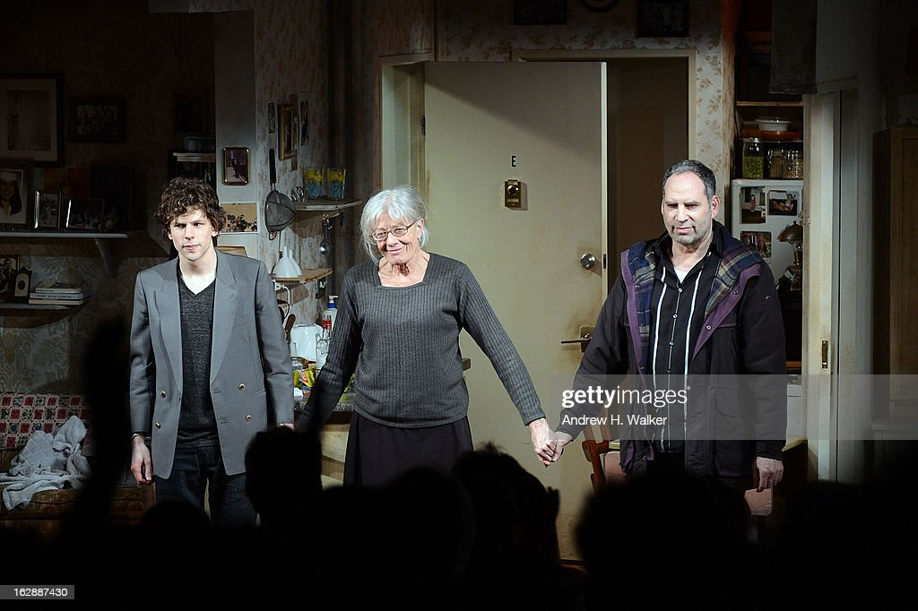 Actors Jesse Eisenberg, Vanessa Redgrave and Daniel Oreskes take their bow at 'The Revisionist' opening night at Cherry Lane Theatre on February 28, 2013 in New York City.